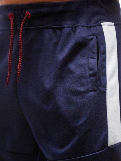 Tmavomodré pánske teplákové kraťasy BOLF 81007