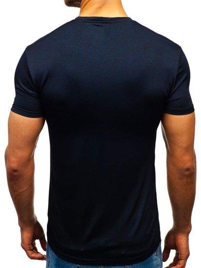 Tmavomodré pánske tričko bez potlače BOLF S01