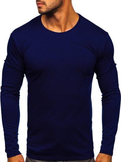 Tmavomodré pánske tričko s dlhými rukávmi bez potlače Bolf 2088L
