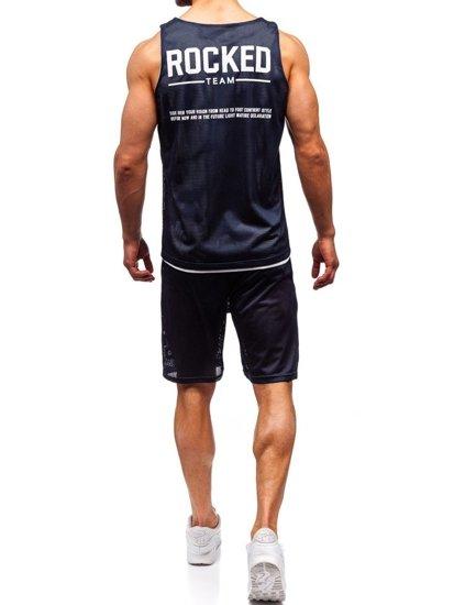 Tmavomodrý pánsky komplet: tričko + kraťasy  BOLF 100780