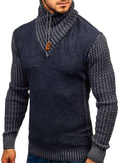 Tmavomodrý pánsky vzorovaný sveter BOLF 2010