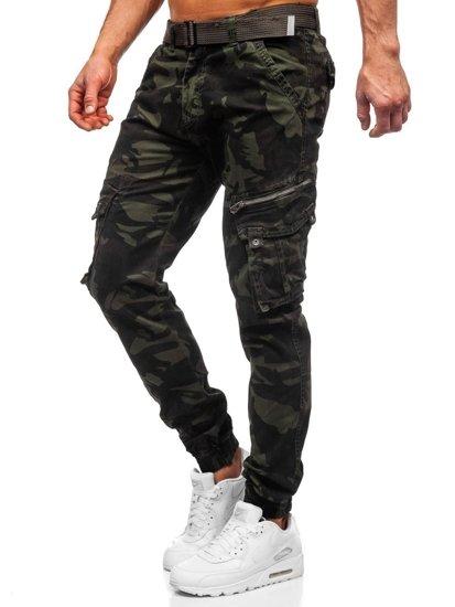 Tmavozelené pánske kapsáčové joggery s opaskom Bolf CT6015
