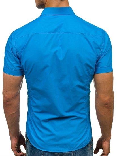 Tyrkysová pánska elegantá košeľa s krátkymi rukávmi BOLF 7501