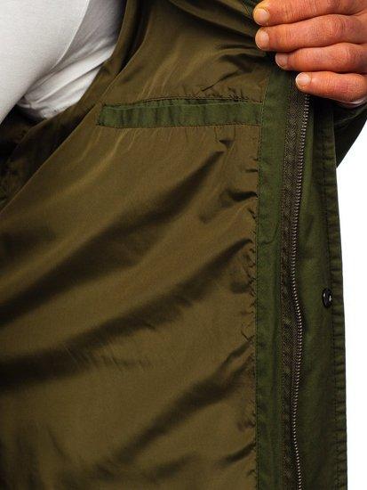 Zelená pánska prechodná bunda parka Bolf 5391