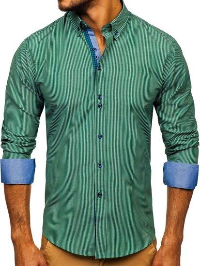 Zelená pánska prúžkovaná košeľa s dlhými rukávmi Bolf 9714