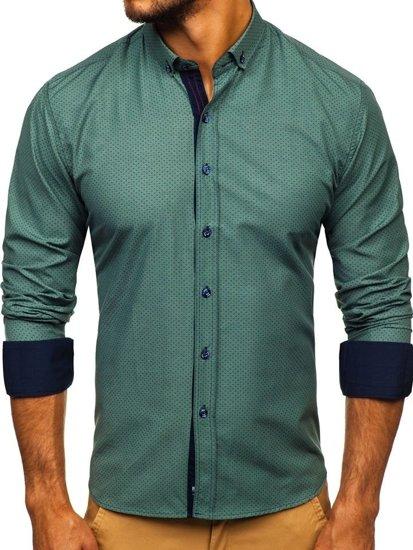 Zelená pánska vzorovaná košeľa s dlhými rukávmi Bolf 9707