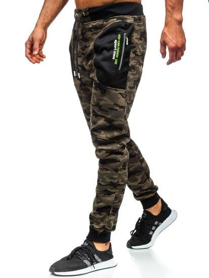 Zelené maskáčové pánske teplákové joggery Bolf TC876