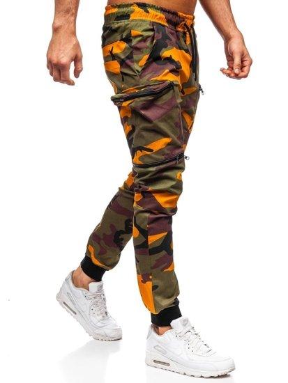 Zeleno-oranžové pánske kapsáčové joggery Bolf 0475
