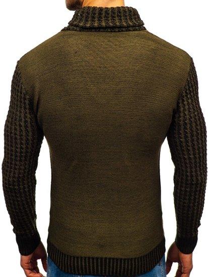 Zelený pánsky vzorovaný sveter BOLF 2010