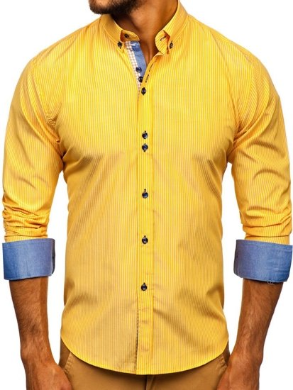 Žltá pánska prúžkovaná košeľa s dlhými rukávmi Bolf 9714