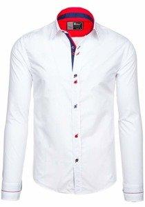 Biela pánska elegantná košeľa s dlhými rukávmi BOLF 5826