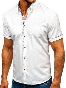 Biela pánska elegantná košeľa s krátkymi rukávmi BOLF 5509-1