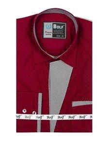 Bordová pánska elegantná košeľa s dlhými rukávmi BOLF 4713