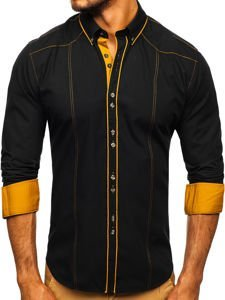 Čierna pánska elegantná košeľa s dlhými rukávmi BOLF 4777