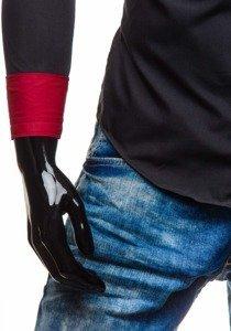 Čierna pánska elegantná košeľa s dlhými rukávmi BOLF 5818