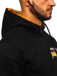 Čierna pánska mikina na zips s kapucňou a slúchadlami Bolf  HY611