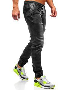 Čierne pánske rifľové joggery Bolf  KA735
