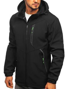 Čierno-zelená pánska softshellová bunda Bolf 12266