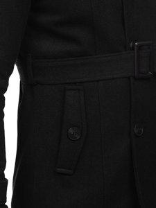 Čierny pánsky zimný dvojradový kabát s vysokým golierom a opaskom Bolf 0009