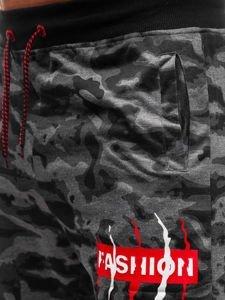 Grafitové maskáčové pánske teplákové kraťasy BOLF NP19