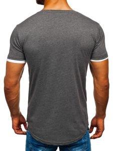 Grafitové pánske tričko bez potlače Bolf 10999