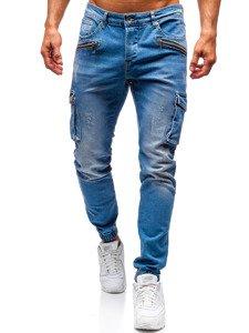 Modré pánske riflové joggery BOLF 3002