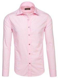 Ružová pánska elegantá košeľa s dlhými rukávmi BOLF 1703