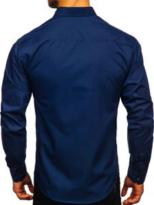 Tmavomodrá pánska elegantná košeľa s dlhými rukávmi Bolf 4705G