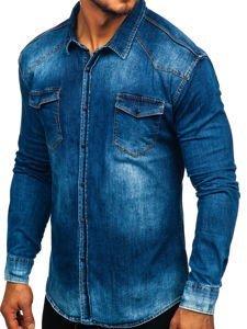 Tmavomodrá pánska rifľová košeľa s dlhými rukávmi Bolf 2063